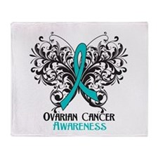Butterfly Ovarian Cancer Throw Blanket
