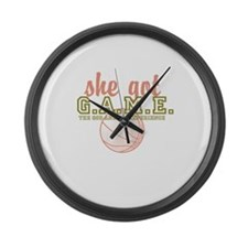 she got G.A.M.E. Large Wall Clock