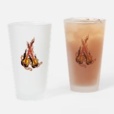 double flaming Guitar Drinking Glass