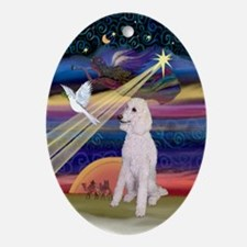 Christmas Star Poodle (ST-W) Oval Ornament