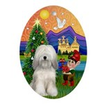 Xmas Fantasy Tibetan Terrier (W) Oval Ornament