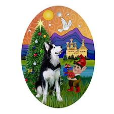 Xmas Fantasy Siberian Husky Oval Ornament