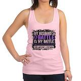 Hodgkins lymphoma husband Womens Racerback Tanktop