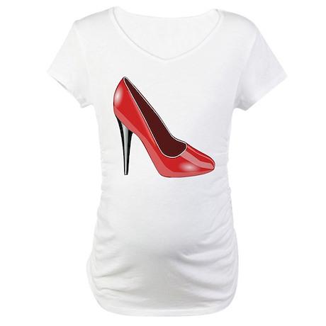 Red High Heel Maternity T-Shirt