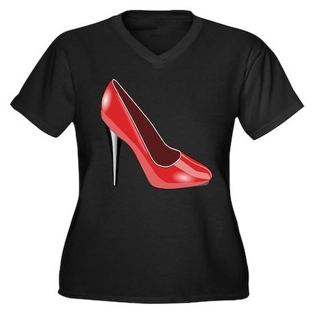 Red High Heel Women's Plus Size V-Neck Dark T-Shir