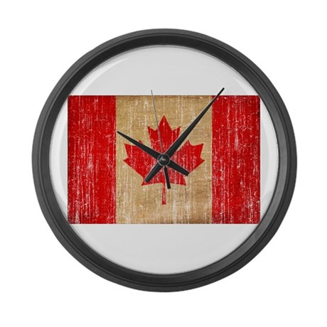 Canada flag large wall clock by antiqueagedflags for Oversized wall clocks canada