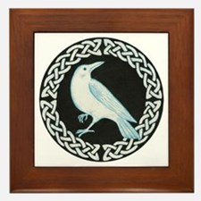 White Crow Celtic design Framed Tile