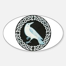 White Crow Celtic design Oval Decal