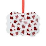 Fun Red Hearts Picture Ornament