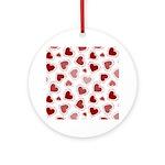 Fun Red Hearts Ornament (Round)