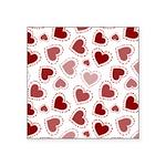 Fun Red Hearts Square Sticker 3