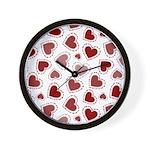 Fun Red Hearts Wall Clock