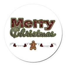 Merry Christmas Gingerbread Round Car Magnet