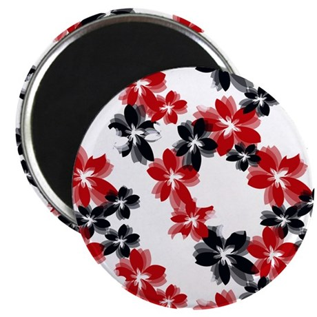 Red and Black Tropical Flowers Magnet