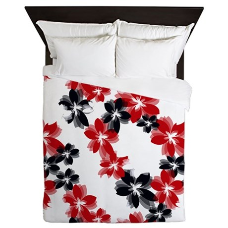 Red and Black Tropical Flowers Queen Duvet