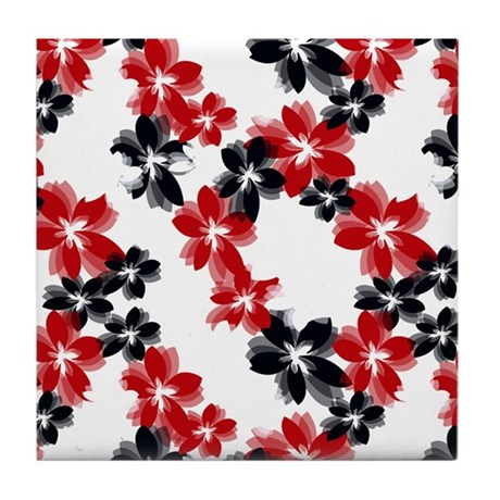 Red and Black Tropical Flowers Tile Coaster
