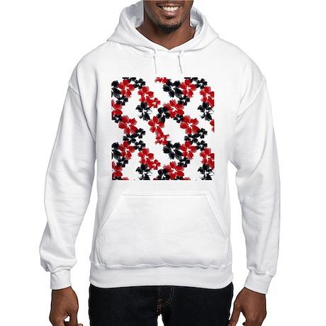 Red and Black Tropical Flowers Hooded Sweatshirt
