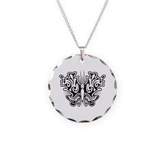 Butterfly Tattoo Black and White Necklace