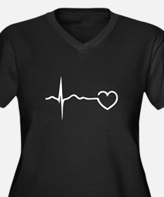 Heartbeat Women's Plus Size V-Neck Dark T-Shirt