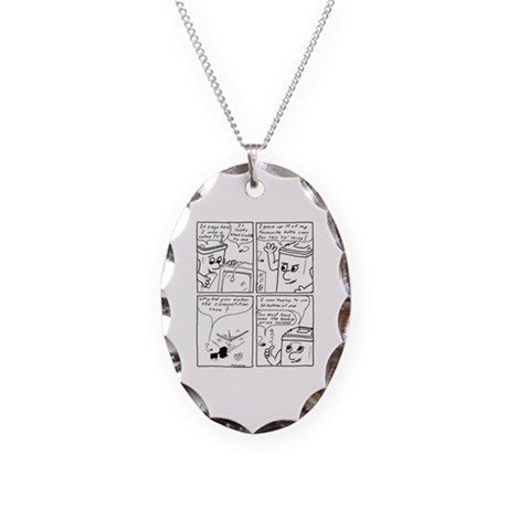 The Old TV 2 Necklace Oval Charm