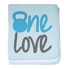Blue One Love Kettlebell baby blanket