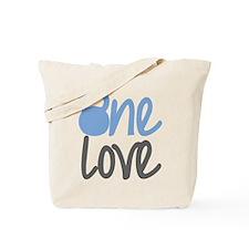 Blue One Love Kettlebell Tote Bag