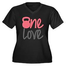 Pink One Love Kettlebell Women's Plus Size V-Neck