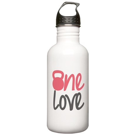 Pink One Love Kettlebell Stainless Water Bottle 1.
