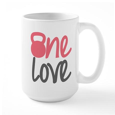 Pink One Love Kettlebell Large Mug
