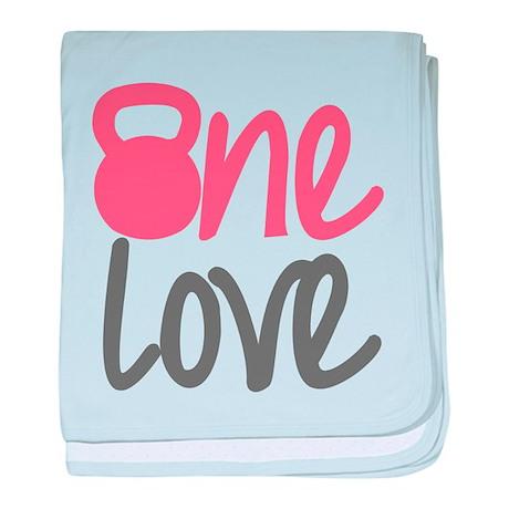 Pink One Love Kettlebell baby blanket