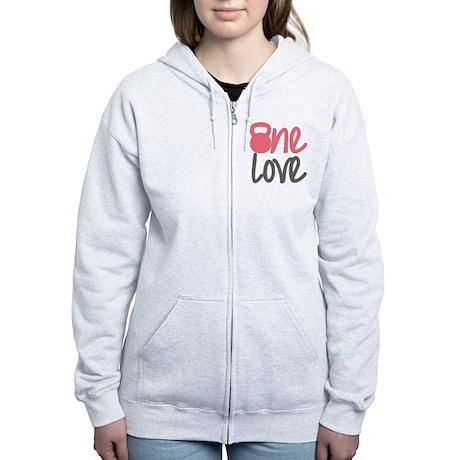 Pink One Love Kettlebell Women's Zip Hoodie
