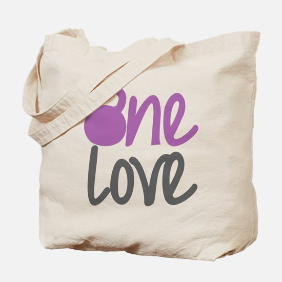 Purple One Love Kettlebell Tote Bag