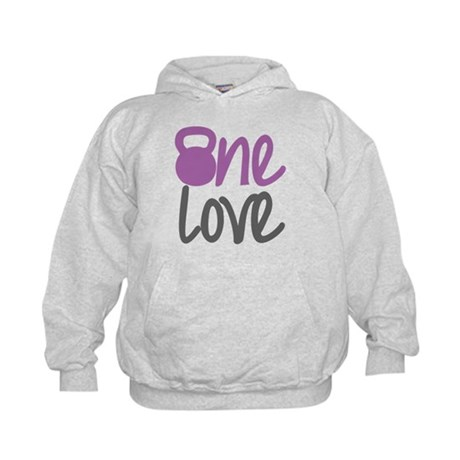 Purple One Love Kettlebell Kids Hoodie