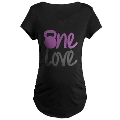 Purple One Love Kettlebell Maternity Dark T-Shirt