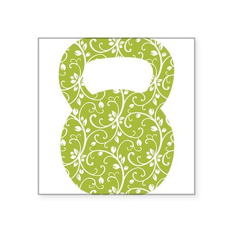 "Organic Green Vine Kettlebell Square Sticker 3"" x"