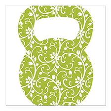 """Organic Green Vine Kettlebell Square Car Magnet 3"""""""
