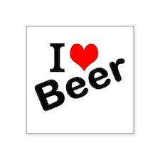 "I Love Beer Square Sticker 3"" x 3"""