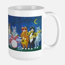 Salsa Cats at Night Large Mug