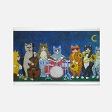 Salsa Cats at Night Rectangle Magnet