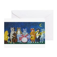 Salsa Cats at Night Greeting Card