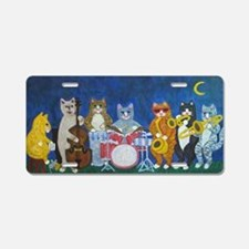 Salsa Cats at Night Aluminum License Plate