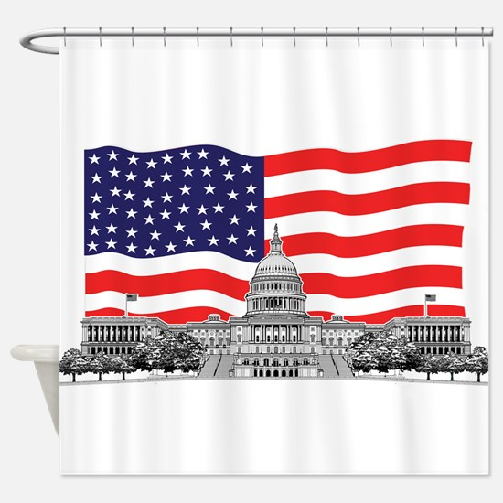 USCapitolbldgFlagREC2.png Shower Curtain