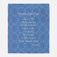 Guardian Angel Prayer Blue Throw Blanket