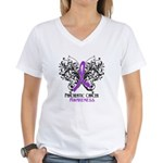 Butterfly Pancreatic Cancer Women's V-Neck T-Shirt