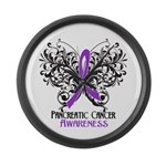 Butterfly Pancreatic Cancer Large Wall Clock