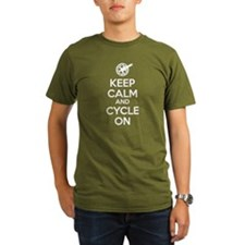 Keep Calm and Cycle On White text T-Shirt