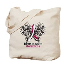 Butterfly Throat Cancer Tote Bag