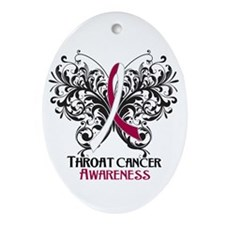 Butterfly Throat Cancer Ornament (Oval)