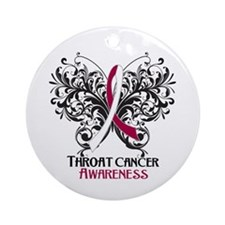 Butterfly Throat Cancer Ornament (Round)