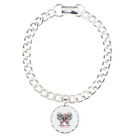 Butterfly Uterine Cancer Charm Bracelet, One Charm